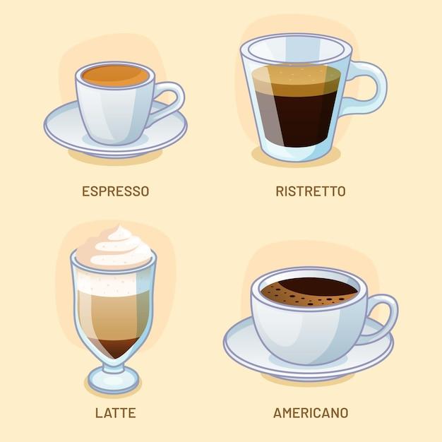 Набор различных видов вкусного кофе Бесплатные векторы