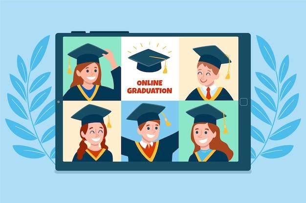 オンラインプラットフォームでの卒業式を図解 無料ベクター