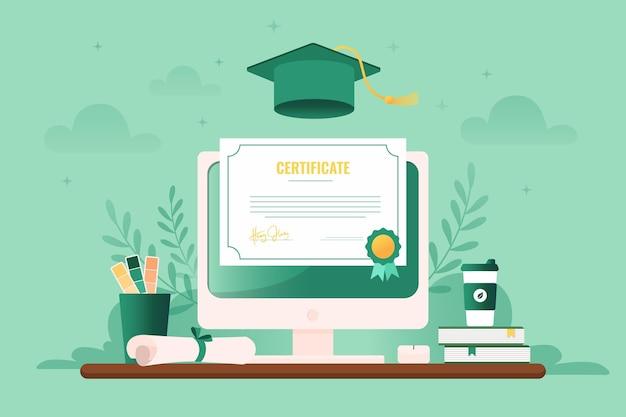 Иллюстрированная онлайн-сертификация на экране компьютера Бесплатные векторы