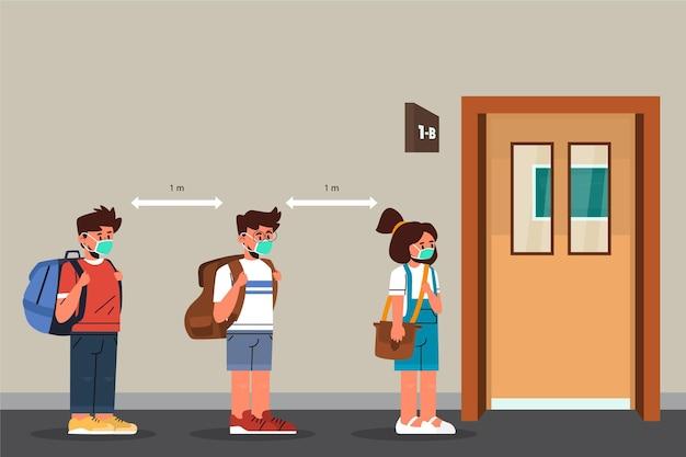 学校での社会的距離 無料ベクター