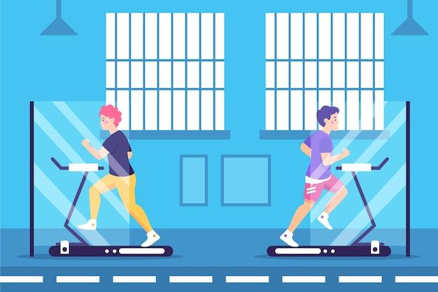 Социальная дистанция в концепции спортзала Бесплатные векторы