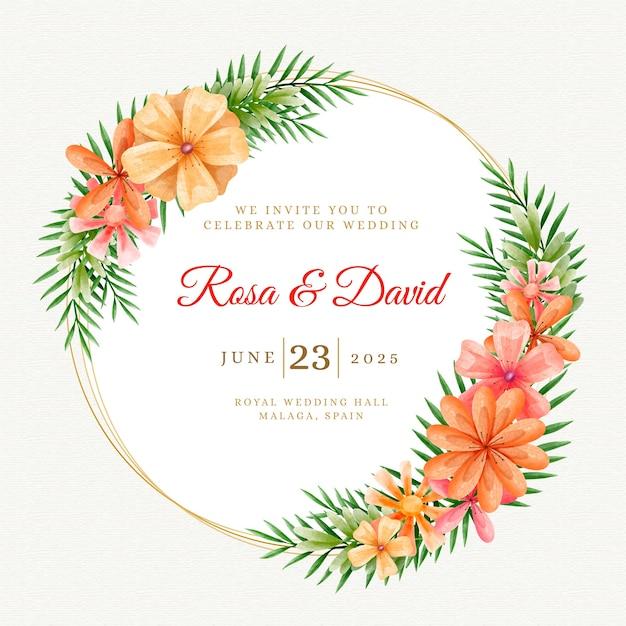 Акварель цветочные свадебные приглашения Бесплатные векторы