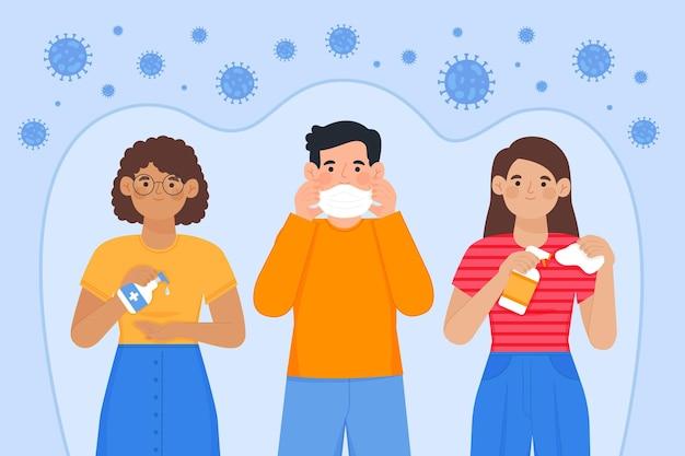 Эффективные способы профилактики коронавируса Бесплатные векторы