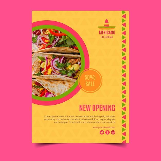 メキシコ料理ポスターテンプレート 無料ベクター