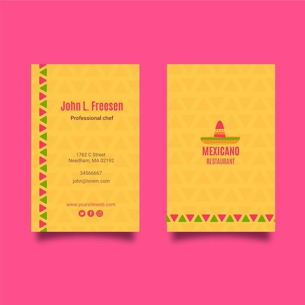 Шаблон визитной карточки мексиканской кухни Бесплатные векторы