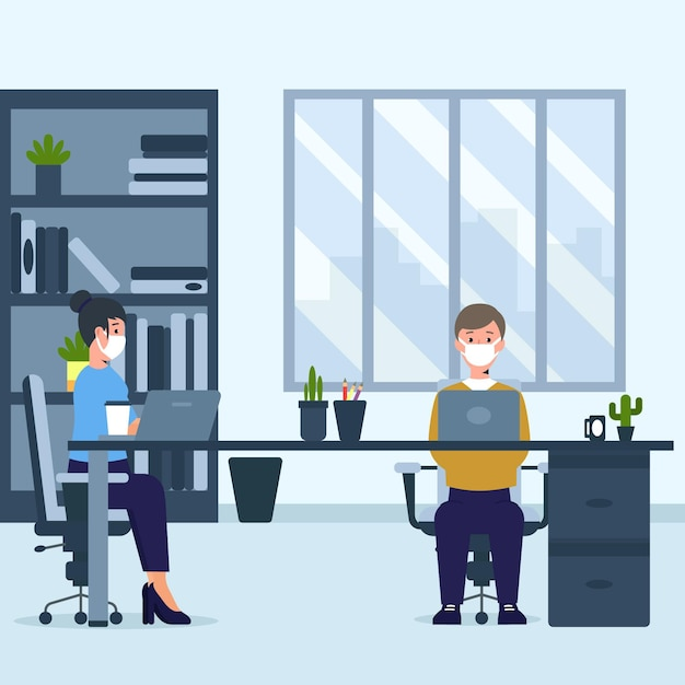 Новый нормальный для офисных людей Бесплатные векторы