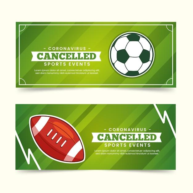 キャンセルされたスポーツイベントバナーのコレクション 無料ベクター
