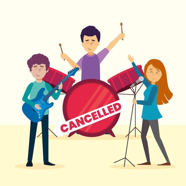 バンドとのキャンセルされた音楽イベント 無料ベクター
