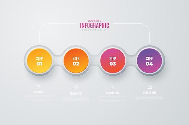 カラフルなサプライチェーンのインフォグラフィック要素 無料ベクター
