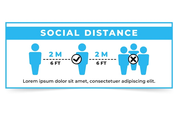 Шаблон знака баннера социальной дистанции Бесплатные векторы