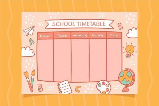学校のタイムテーブルデザインに戻る 無料ベクター