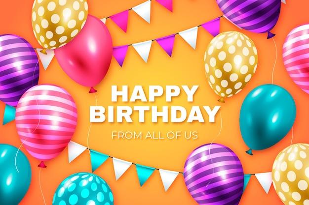Реалистичный день рождения фон с воздушными шарами Бесплатные векторы