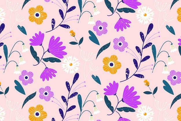 カラフルな花柄 無料ベクター