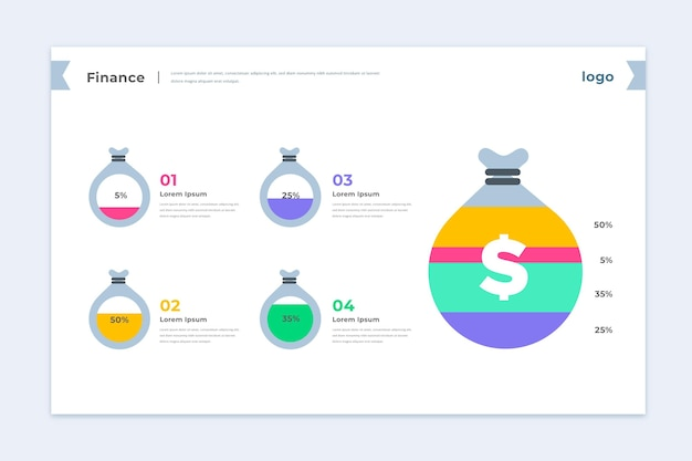 Красочный финансов инфографики шаблон Бесплатные векторы