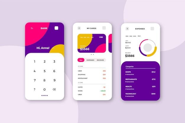 銀行アプリのインターフェースのコンセプト 無料ベクター