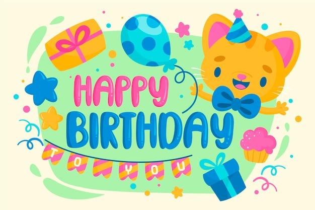 Ручной обращается день рождения фон милый котенок смайлик Бесплатные векторы