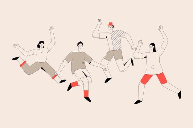 若者の日イベントをジャンプする人々のスケッチ 無料ベクター