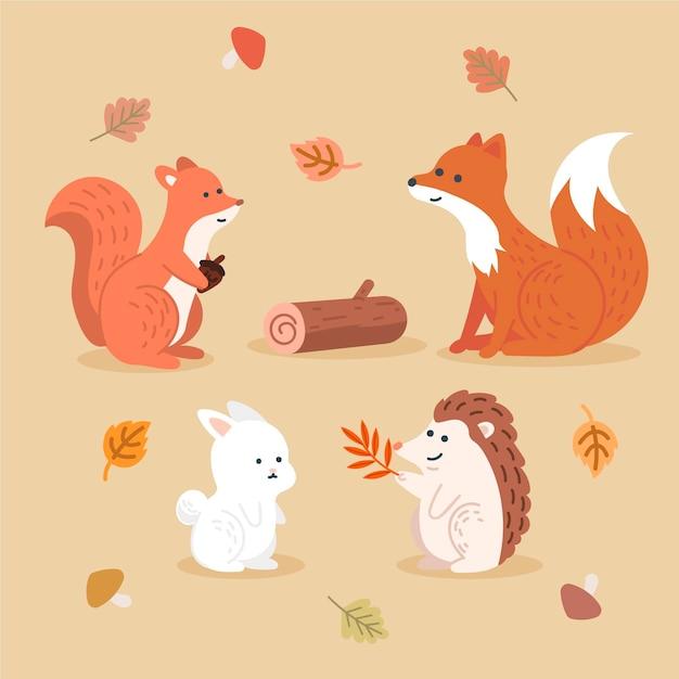 Осенние лесные животные Бесплатные векторы