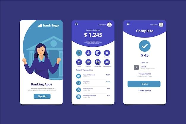 Экраны интерфейса банковского приложения Бесплатные векторы