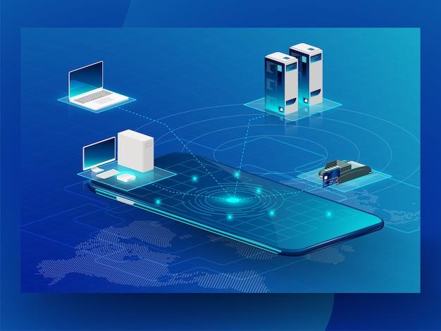 ブロックチェーン技術要素の将来の設計 Premiumベクター