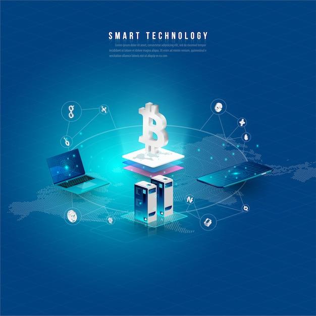 ビッグデータ処理の概念、将来のエネルギーステーション、データセンター、暗号通貨とブロックチェーン Premiumベクター