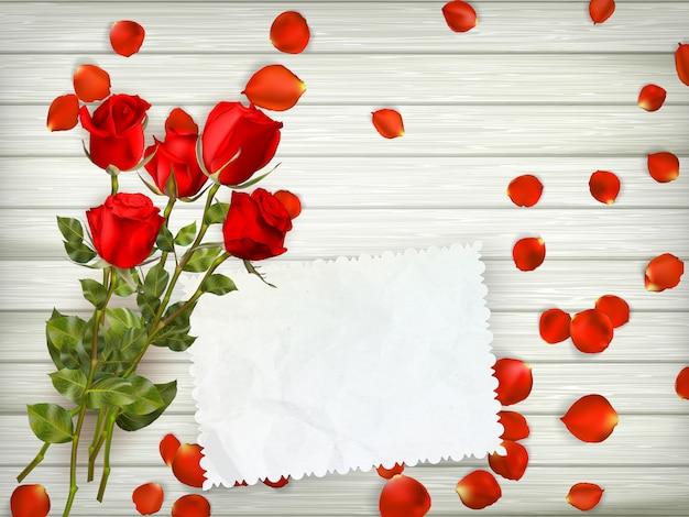 木材の背景に赤いバラ。 Premiumベクター