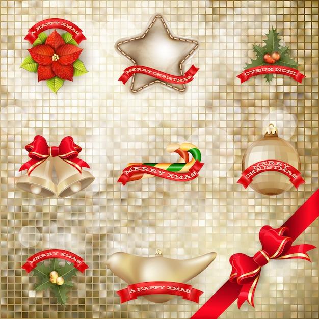 黄金のモザイクの背景のクリスマスの弓。 Premiumベクター