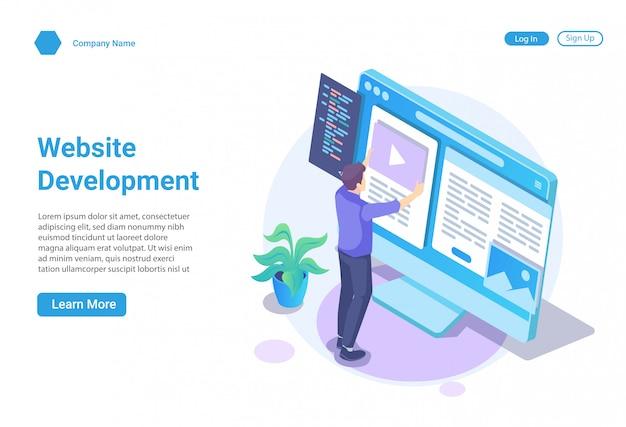 Изометрические иллюстрации концепция веб-разработки и веб-дизайна для веб-сайта и мобильного сайта, шаблон целевой страницы Premium векторы