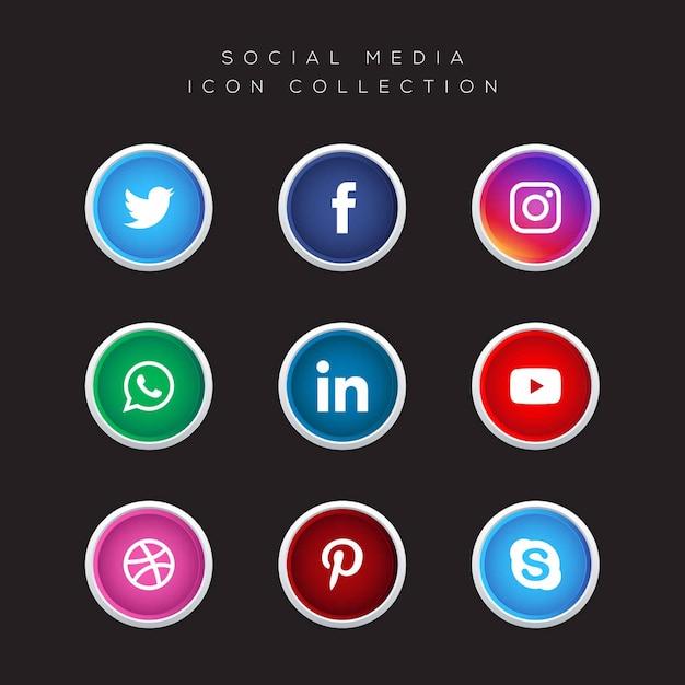 ソーシャルメディアのアイコンベクトルコレクション Premiumベクター