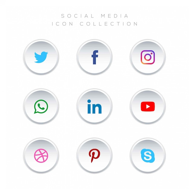 Коллекция логотипов в социальных сетях Premium векторы
