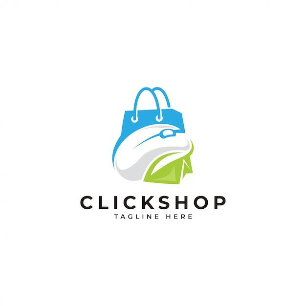 ショップロゴをクリック Premiumベクター