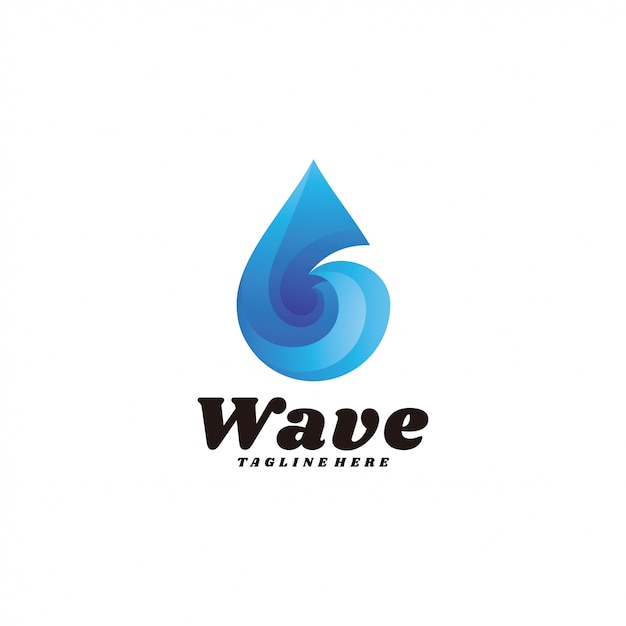 現代のグラデーション波水滴ロゴ Premiumベクター