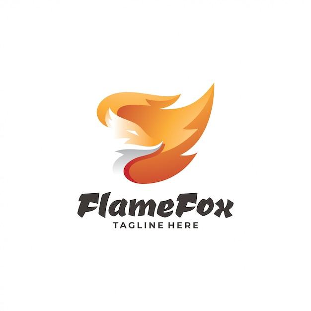 フォックスヘッドと炎のロゴ Premiumベクター