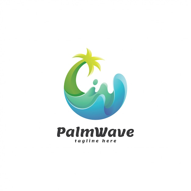 抽象的なグラデーションのヤシの木と波のロゴ Premiumベクター