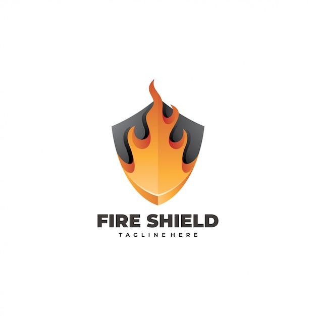防火シールドのロゴ Premiumベクター