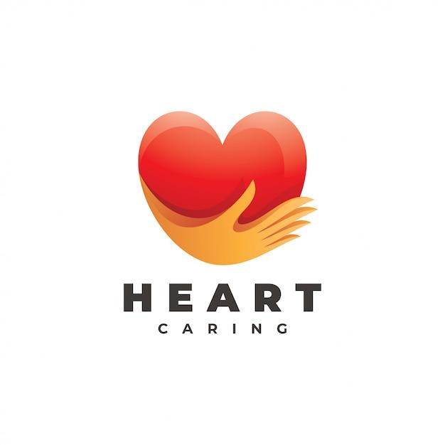 Сердце любовь и забота рука логотип Premium векторы