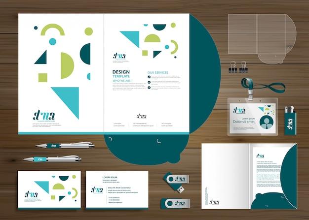 コーポレートビジネスフォルダーテクノロジーステーショナリーカンパニー、プレゼンテーション Premiumベクター
