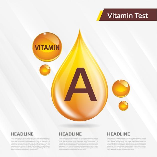 Витамин а значок золотой шаблон Premium векторы