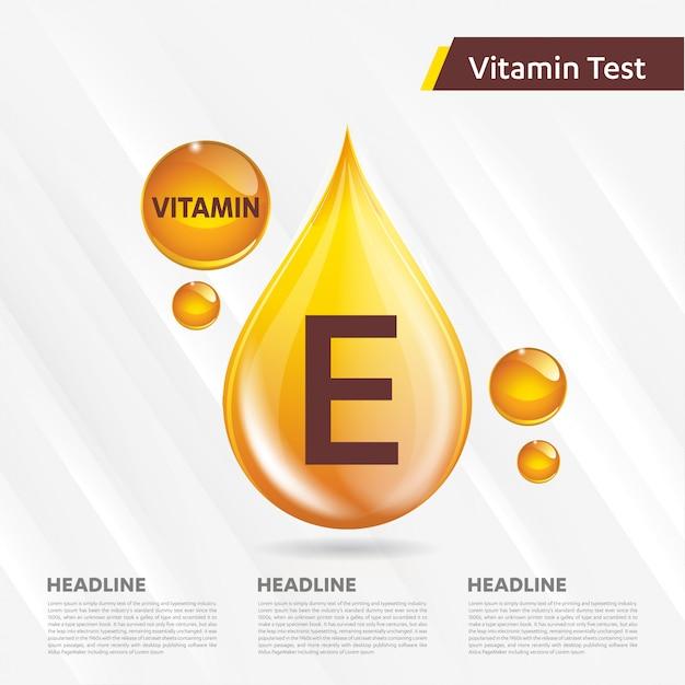 Витамин е значок золотой шаблон Premium векторы