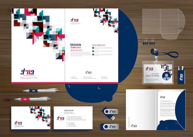 Корпоративная бизнес папка технология канцтовары компания, презентация, Premium векторы