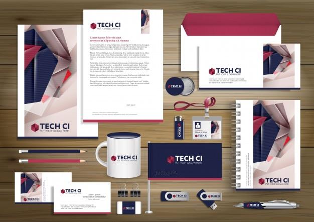 デジタルテクノロジーコーポレートアイデンティティ、ギフトアイテムテンプレートデザインモックアップ。文房具 Premiumベクター