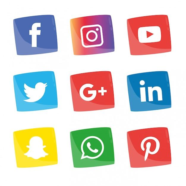 ソーシャルメディアアイコンが設定されます。 Premiumベクター
