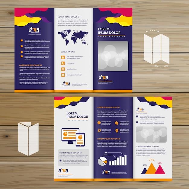 パンフレットビジネス三つ折りリーフレットチラシベクターデザイン Premiumベクター