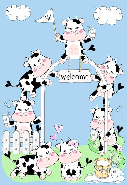Милая корова на молочной ферме Premium векторы