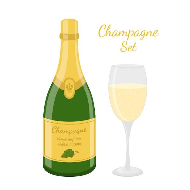 シャンパンボトル Premiumベクター