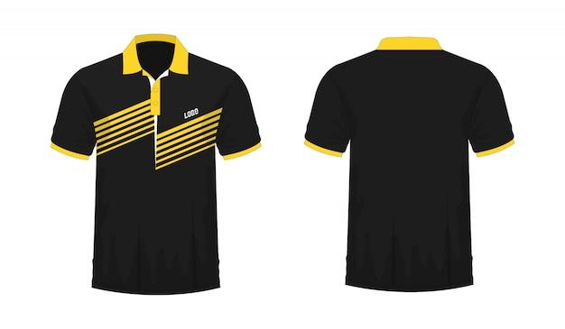Футболка поло желтая и черная футболка Premium векторы