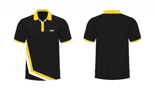 Футболка поло желтый и черный шаблон для дизайна. Premium векторы