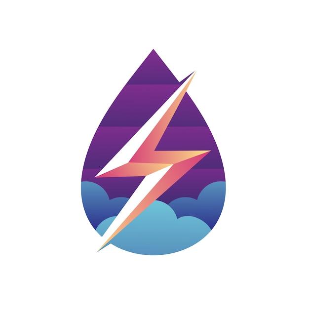 Дизайн логотипа «вода и удар молнии» Premium векторы