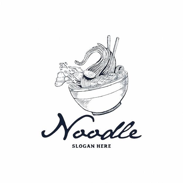 麺ロゴ Premiumベクター