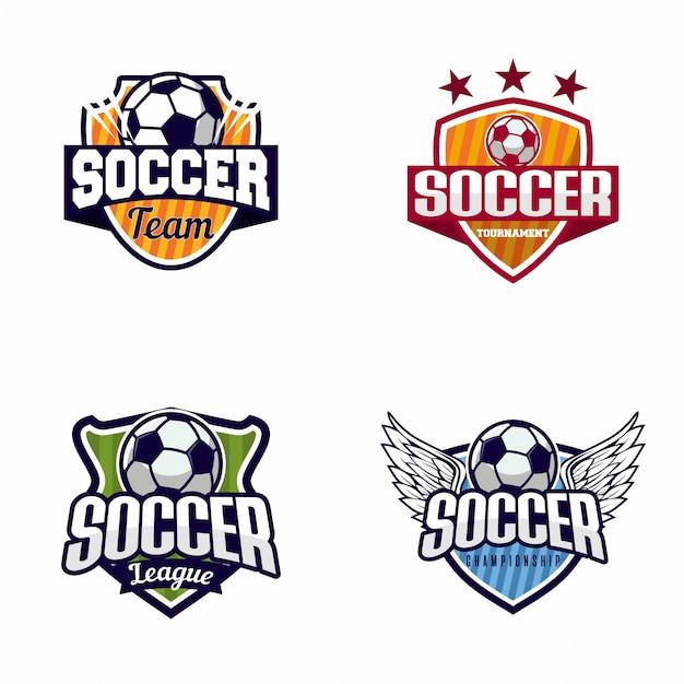 サッカーサッカーバッジのロゴのセット Premiumベクター